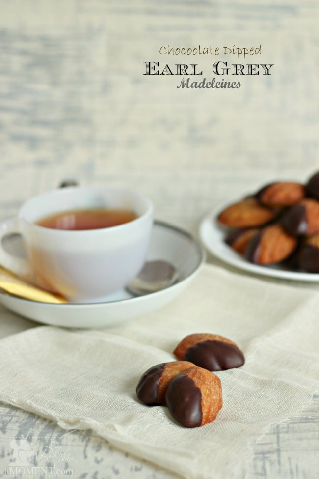 Chocolate Dipped Earl Grey Madeleines by BakingAMoment.com