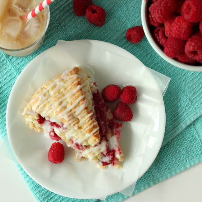Raspberry Cream Scones with Rosewater Glaze by BakingAMoment.com