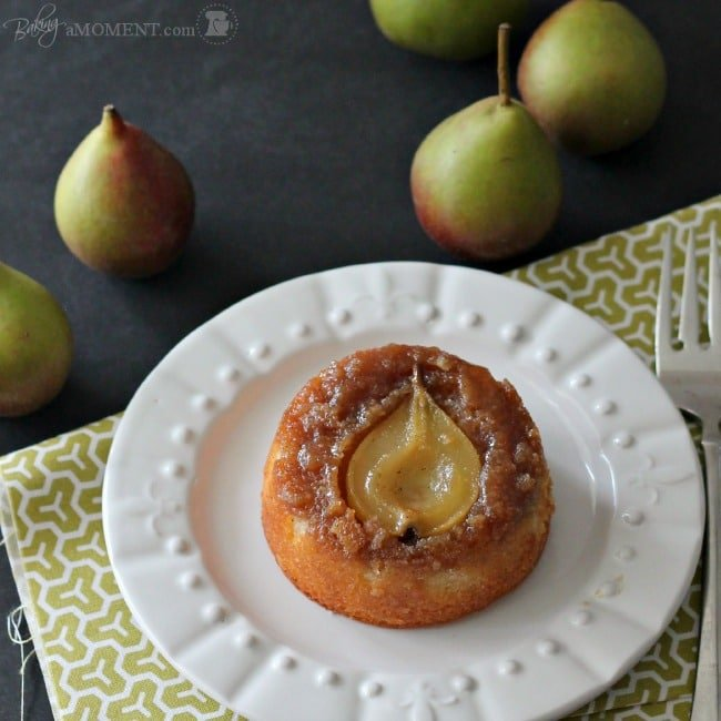 Pear Vanilla Upside Down Cakes | Baking a Moment