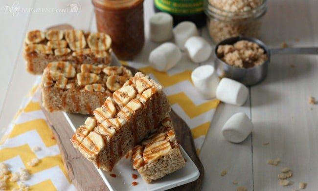 Bananas Foster Rice Krispie Treats | Baking a Moment