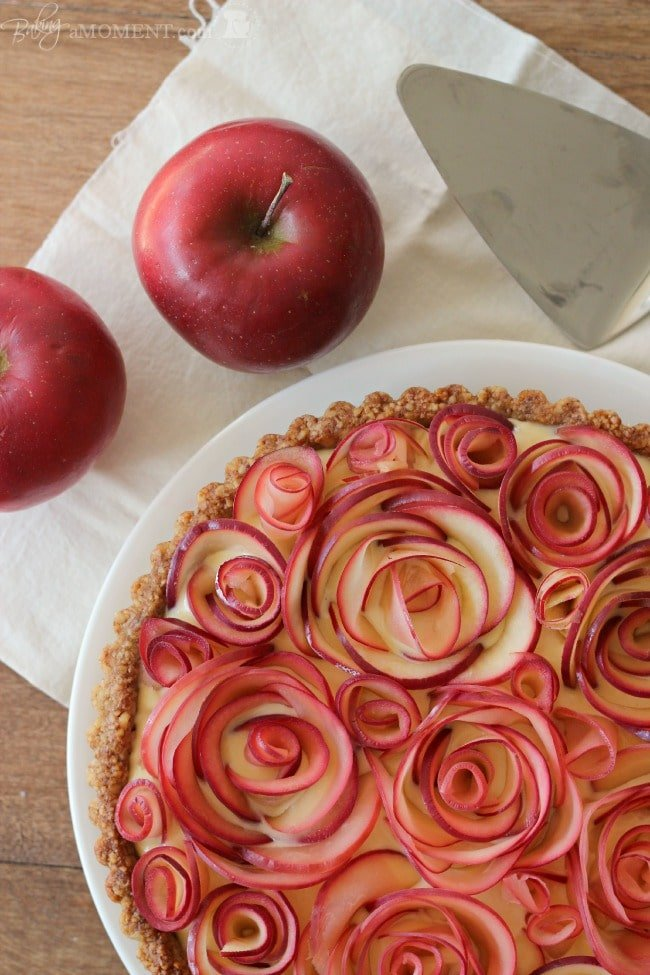 Apple Rose Tart with Walnut Crust & Maple Custard | Baking a Moment