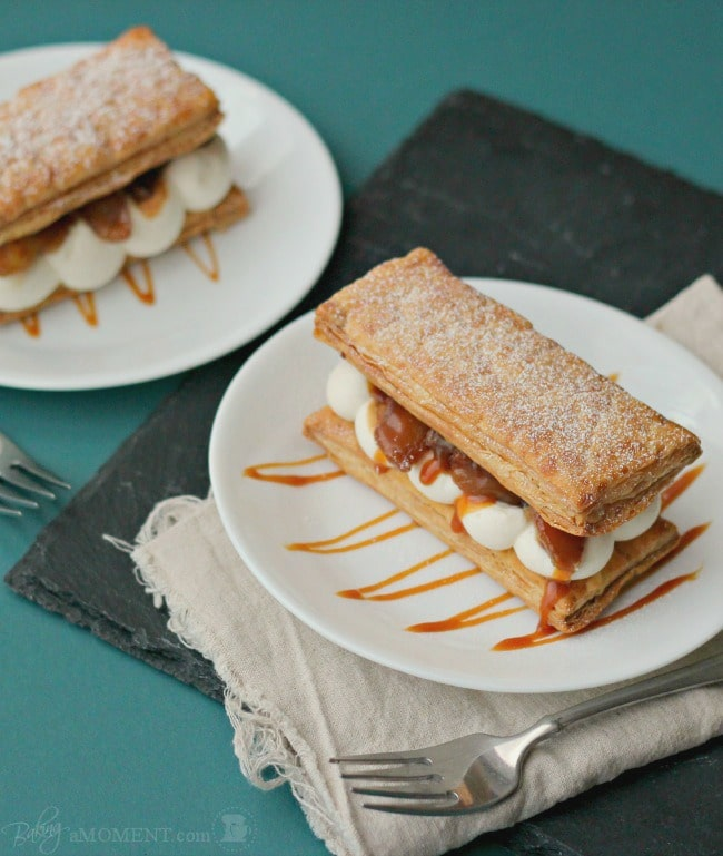 Caramelized Apple & Goat Cheese Mousse Mille Feuilles | Baking a Moment