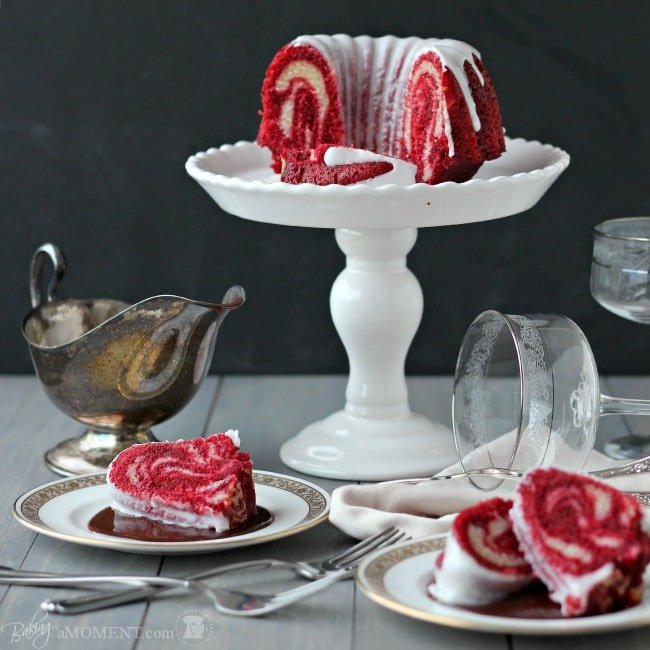 Red Velvet Zebra Bundt Cake | Baking a Moment