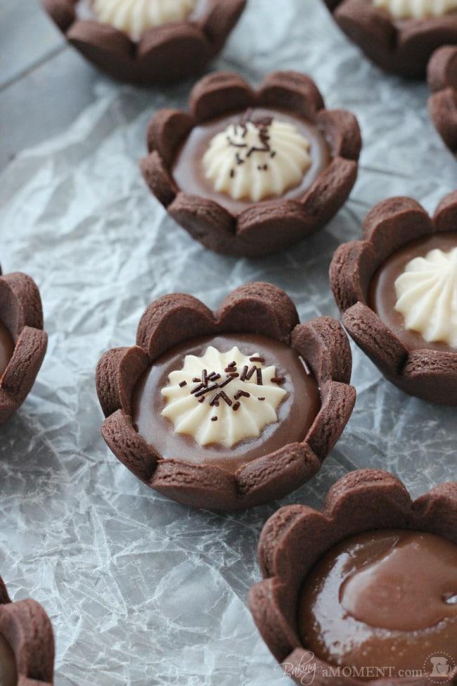 Chocolate-Caramel Tartlets Recipe — Dishmaps