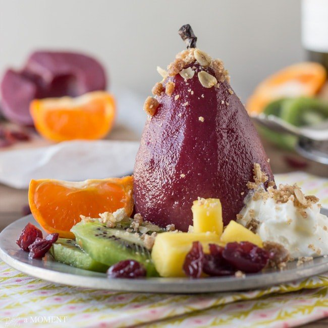 Sangria Poached Pears with Cinnamon Oat Crumble