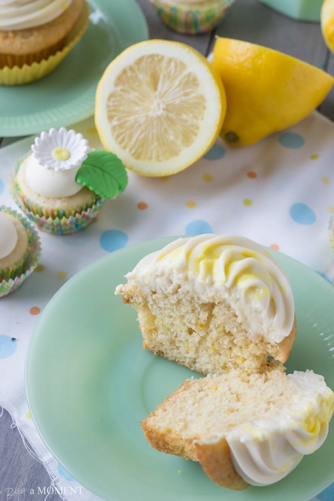Lemon Yogurt Cupcakes with Cream Cheese Frosting | Baking a Moment