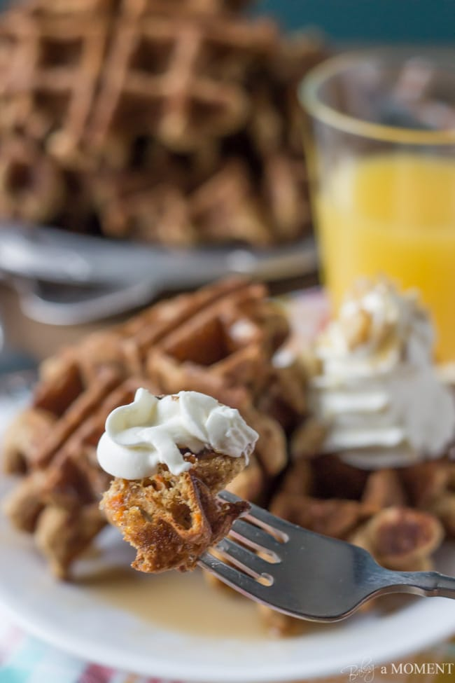 Whole Wheat Carrot Cake Waffles with Cream Cheese Whipped Cream   Baking a Moment