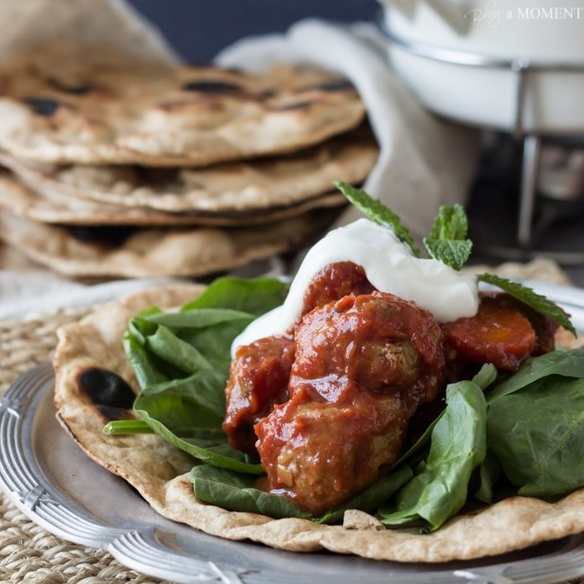 Slow Cooker Morroccan Turkey Meatballs with Homemade Whole Wheat Naan