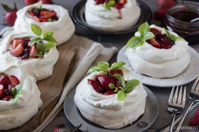 Pavlovas with Strawberries and Balsamic | Baking a Moment
