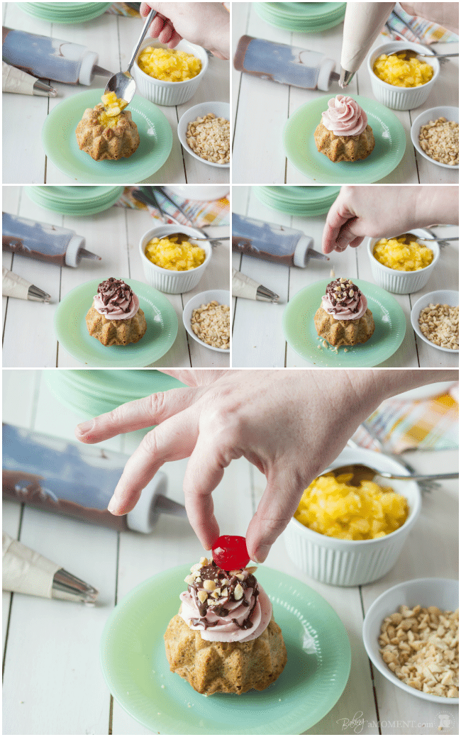 Banana Split Mini Bundt Cakes | Baking a Moment