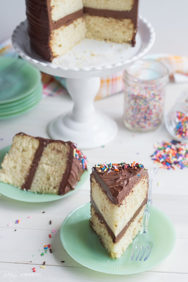Classic Yellow Cake with Chocolate Frosting   Baking a Moment