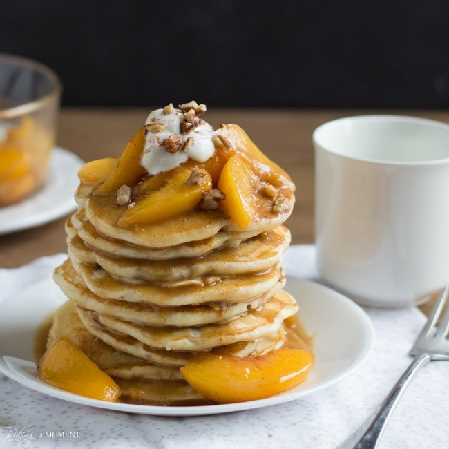 Toasted Pecan Pancakes with Brown Butter Bourbon Peach Syrup