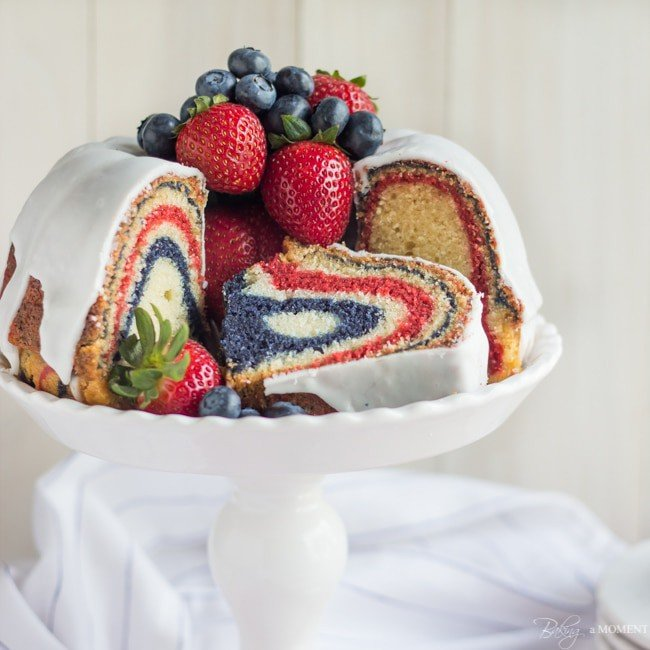 Red, White, and Blue Velvet Bundt Cake