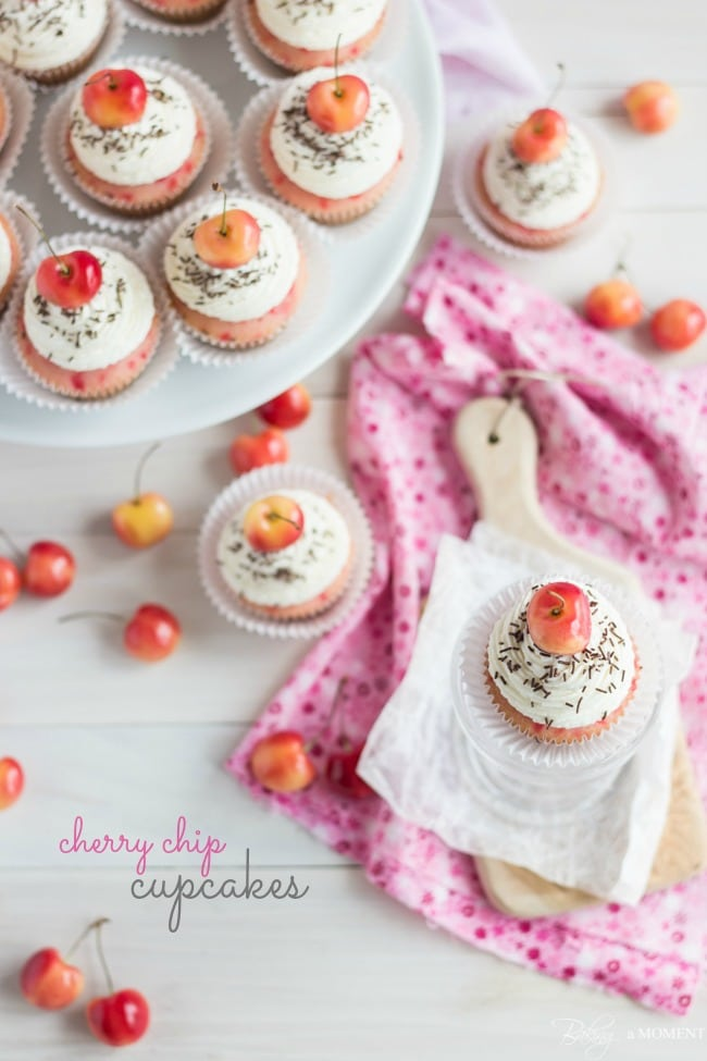 Cherry Chip Cupakes with Bourbon Vanilla Frosting | Baking a Moment