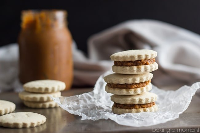 Pumpkin Butter Alfajores (gluten-free, dairy-free, and no refined sugar)