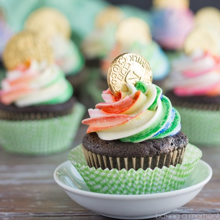 Rainbow Pot of Gold Cupcakes for St. Patrick's Day- the Chocolate Cake recipe is phenomenal! And the Rainbow striped frosting was actually pretty simple. Definitely making these again, they were a big hit!