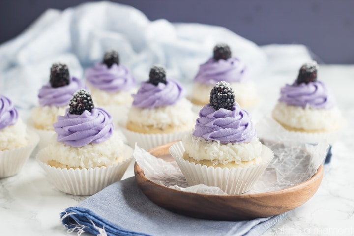 Blackberry Coconut Cupcakes- oh my! So dreamy and light, and that ...