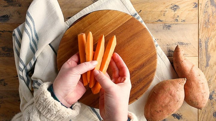 Sweet potatoes cut into 1/4-inch sticks.