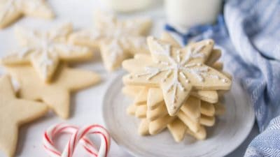 I make these vanilla cut-out cookies every year, and they never disappoint! So easy to make, the dough is great to work with, and they absolutely, positively, DO NOT SPREAD when you bake them. Perfect for decorating with royal icing.