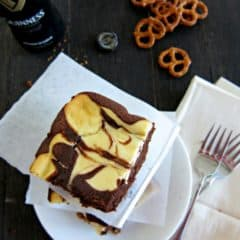 Guinness Brownies with Pretzel Crust
