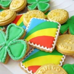 Decorated St. Patrick's Day cookies.