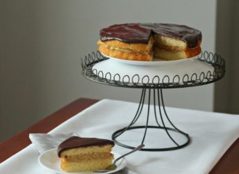 Peanut Butter Boston Cream Pie by BakingAMoment.com