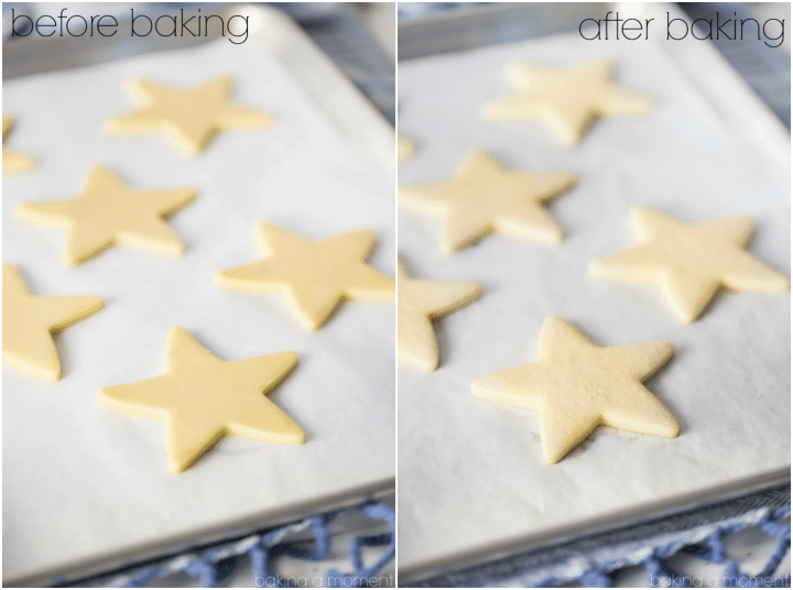 I make these vanilla cutout cookies every year, and they never disappoint! So easy to make, the dough is great to work with, and they absolutely, positively, DO NOT SPREAD when you bake them. Perfect for decorating with royal icing.