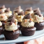 It's Peanut Butter overload! Moist and Fudgy Homemade Brownie Bites, with a REESE'S Peanut Butter Cup tucked inside, topped with Rich Peanut Butter Cheesecake and REESE'S Pieces! Score big with this Chocolate-y treat!