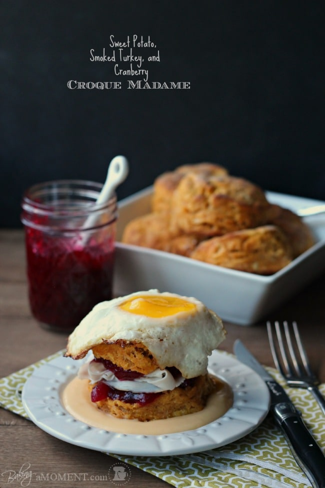 Sweet Potato, Smoked Turkey, and Cranberry Croque Madame