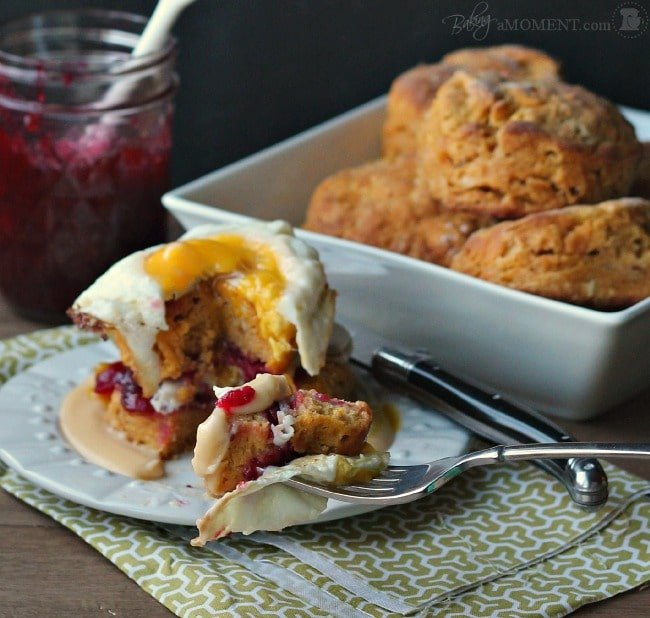 Sweet Potato, Smoked Turkey, and Cranberry Croque Madame