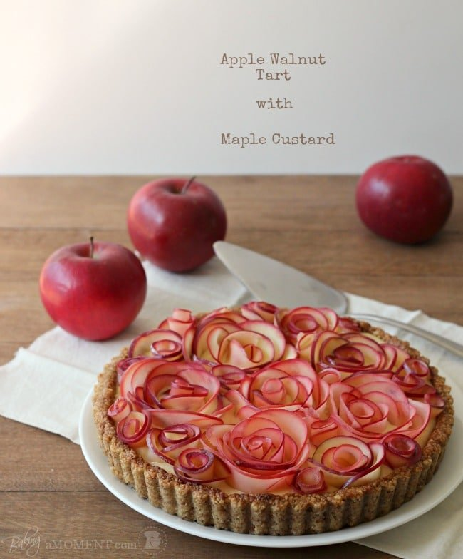 Apple Walnut Rose Tart with Maple Custard | Baking a Moment
