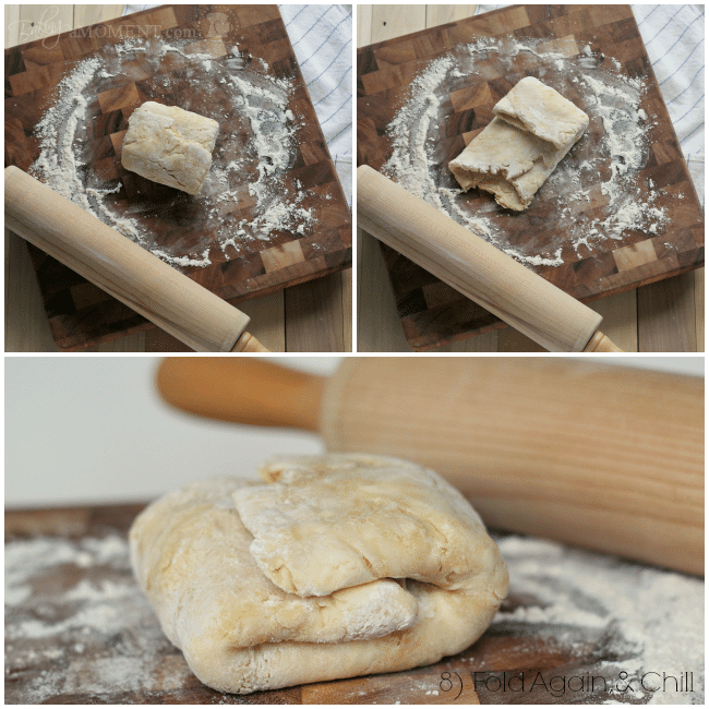 Photo collage showing how to laminate dough.