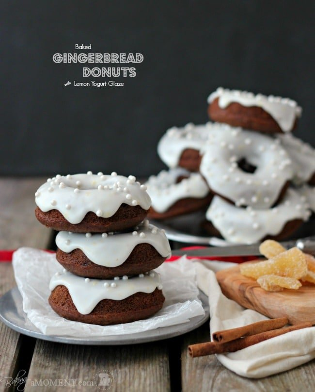 Baked Gingerbread Donuts with Lemon Yogurt Glaze | Baking a Moment