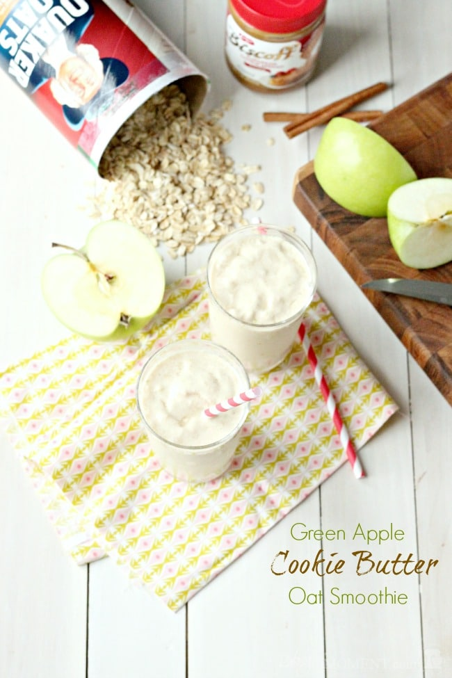 Green Apple Cookie Butter Oat Smoothie | Baking a Moment