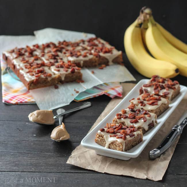 Peanut Butter Banana Blondies with Bacon, aka Elvis Bars | Baking a Moment