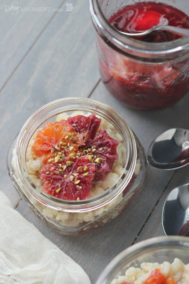 Rice Pudding with Blood Oranges in Vanilla Cardamom Syrup   Baking a Moment