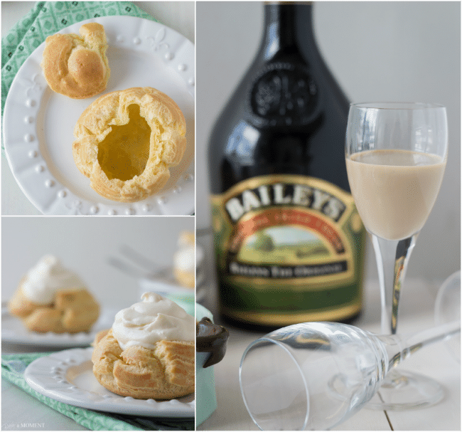 #KissMeImIrish Irish Cream Profiteroles | Baking a Moment