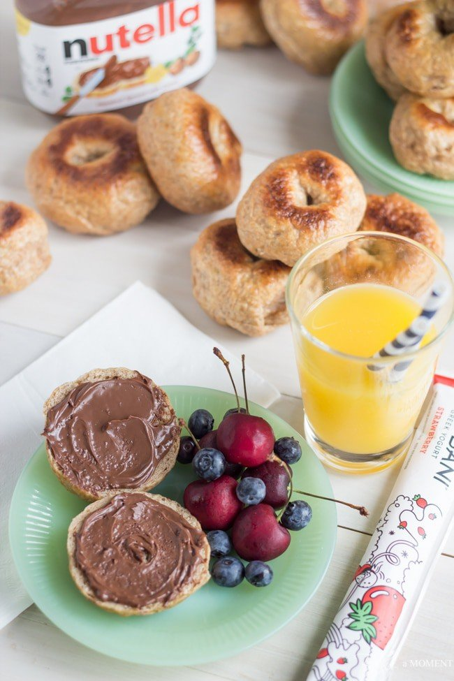 Homemade Whole Wheat Mini Bagels with Nutella | Baking a Moment
