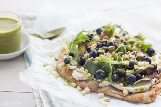 Grilled Corn & Blueberry Flatbread with Whipped Goat Cheese & Basil Vinaigrette | Baking a Moment