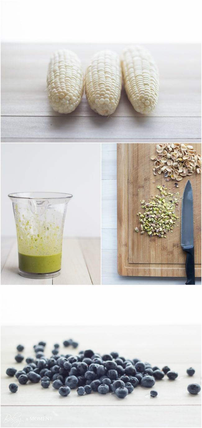 Corn & Blueberry Flatbread with Basil Vinaigrette & Pistachios | Baking a Moment