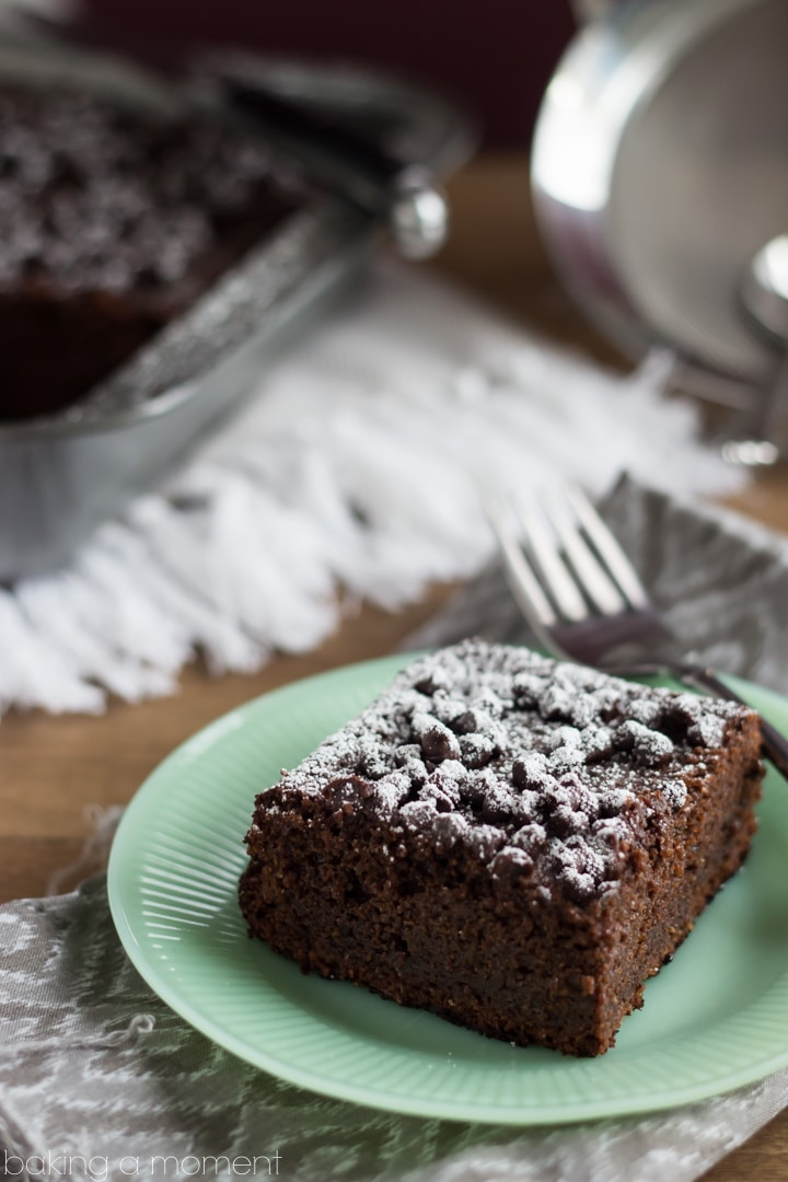 Healthier Chocolate Cake: whole wheat, coconut oil, applesauce, & Greek yogurt. The texture and flavor are amazing!!  So chocolate-y & moist, & a snap to make!