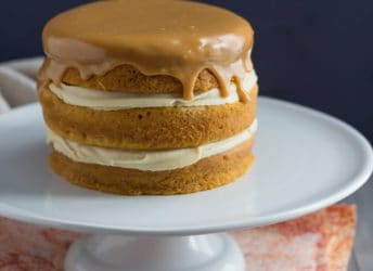 Pumpkin Boston Cream Pie- with Maple Custard and Caramelized White Chocolate Ganache. Awesome fall flavors!