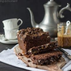 What a treat! Chocolate Hazelnut Streusel Bread with Salted Caramel- so delish with a hot cuppa!