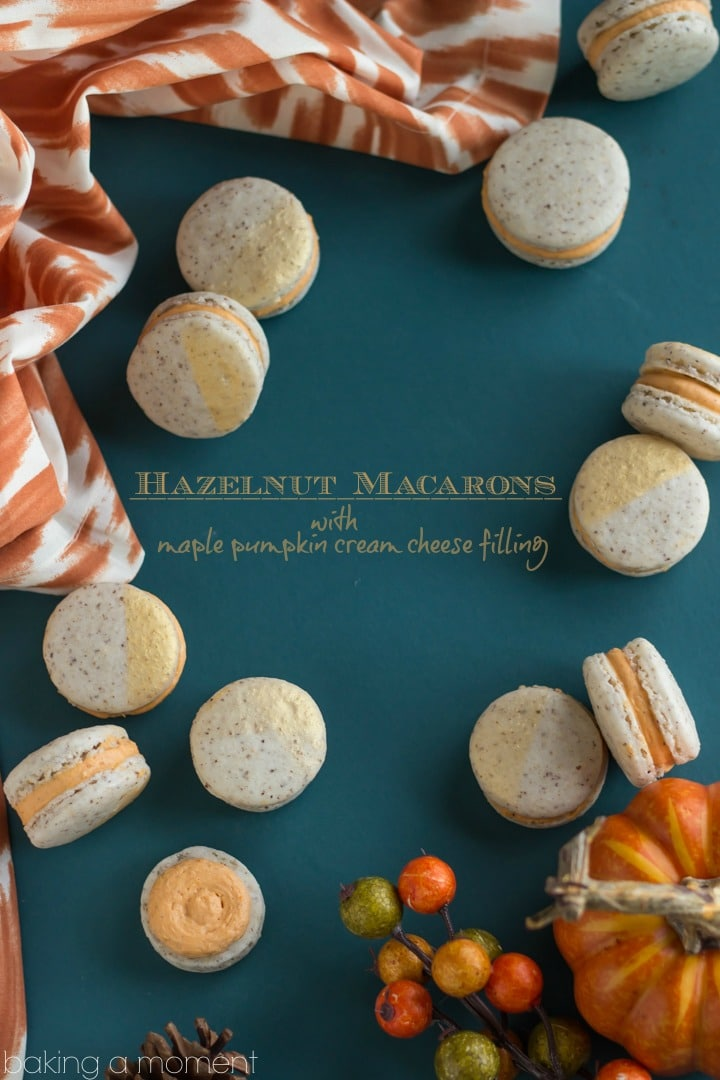 These make such a perfect little sweet nibble for a fall get-together.  Hazelnut macarons with maple pumpkin cream cheese filling-- amazing flavor!