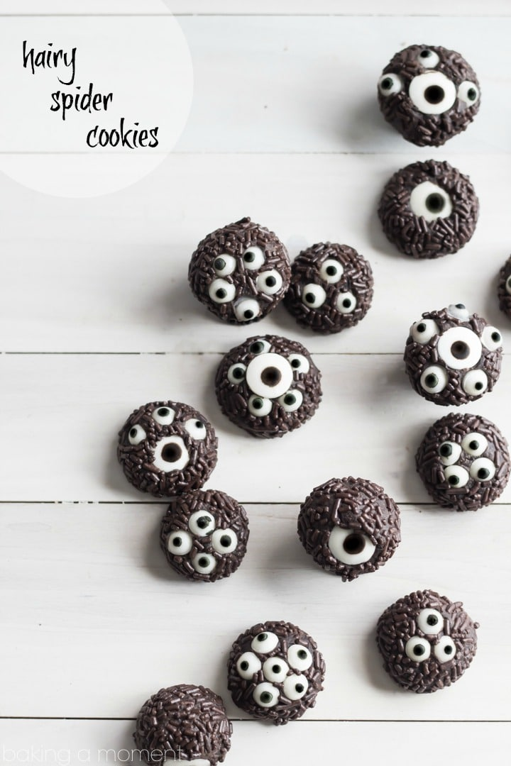 My kids LOVED these hairy spider cookies!  So cute and spooky for Halloween, and they taste just like a soft oreo.  Perfect treat for a class party.