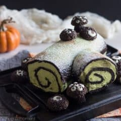 This Dark Chocolate Matcha Ghoul Log is perfect for a Halloween party! I love the hairy spiders crawling all over it, and the flavors are so good!