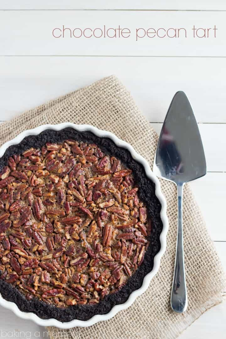 Chocolate Pecan Tart with Chocolate Cookie Crust-  No corn syrup here, just brown sugar, honey, and maple.  And a little hint of bourbon ;)