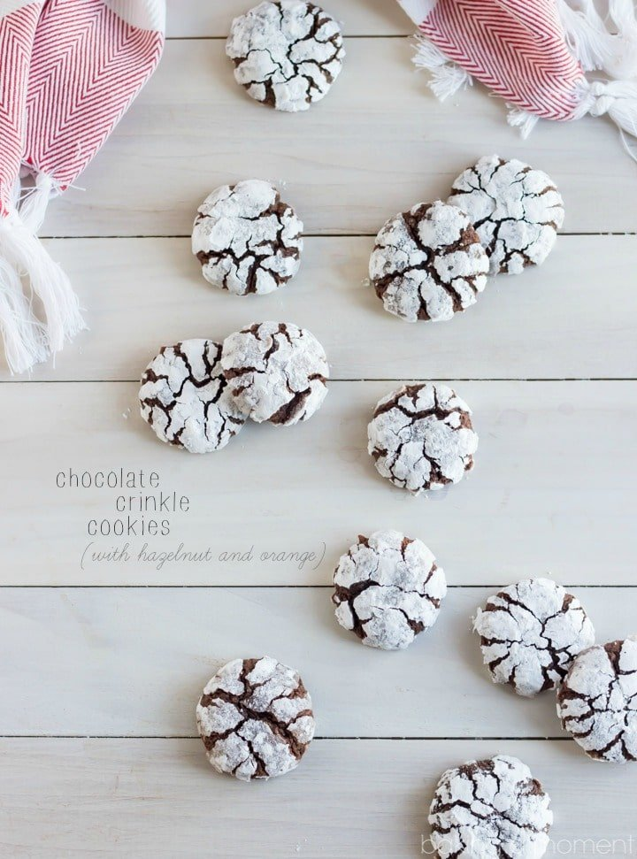 Classic Chocolate Crinkle Cookies with a Hazelnut and Orange Twist! These are so soft and chewy and full of wintry flavor.