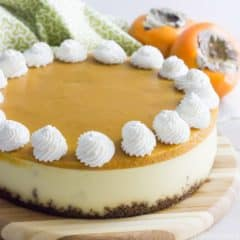 Creamy New York style cheesecake on a gingersnap crust, topped with a sweet and seasonal persimmon topping. Perfection!