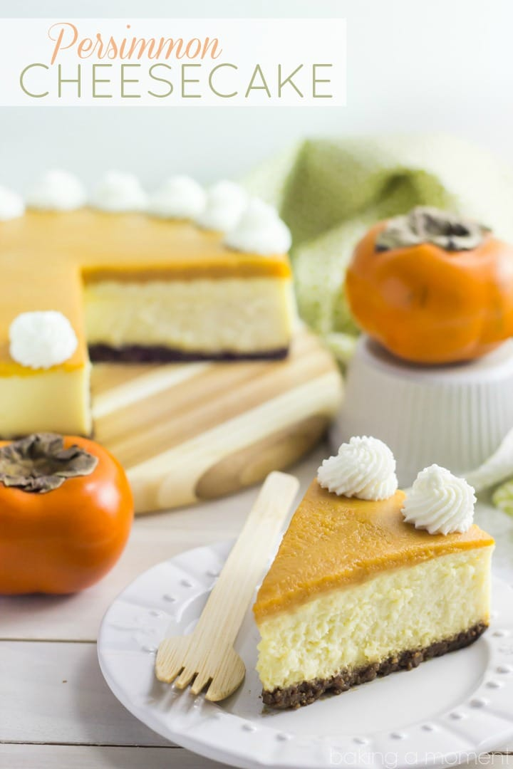 Creamy New York style Cheesecake topped with a sweet and seasonal Persimmon topping.  Perfection!